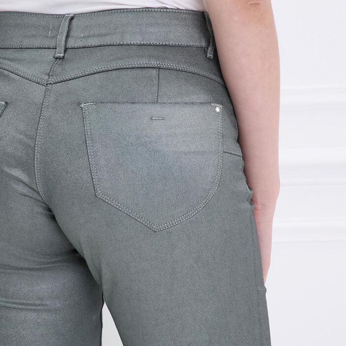 Pantalon taille basculée 7/8 vert foncé femme