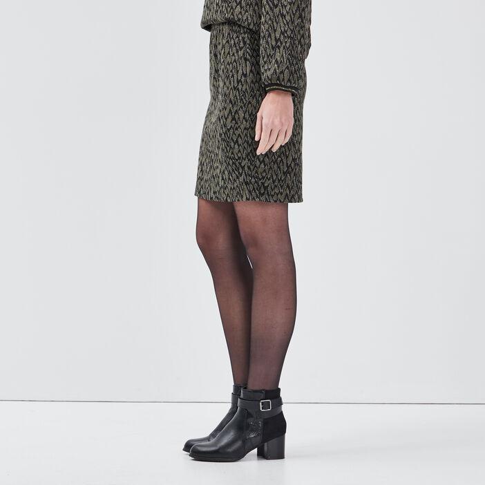 Jupe droite taille élastiquée vert kaki femme