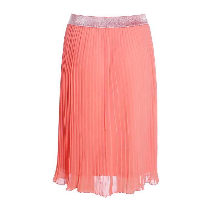 Jupe plissée longueur genou orange corail femme