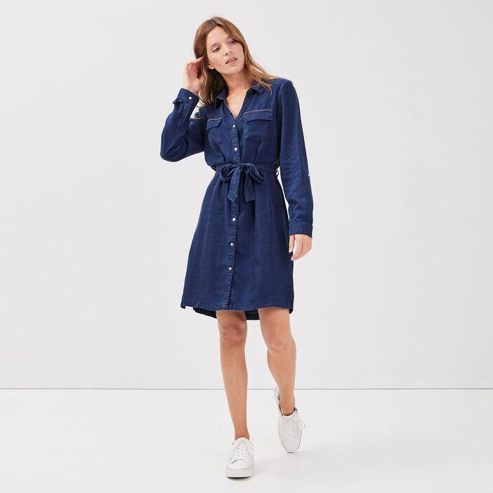 Robe droite ceinturée en jean denim brut femme