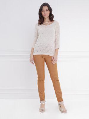 Pantalon ajuste taille haute camel femme