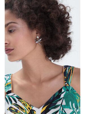Boucles doreilles pendentif couleur argent femme