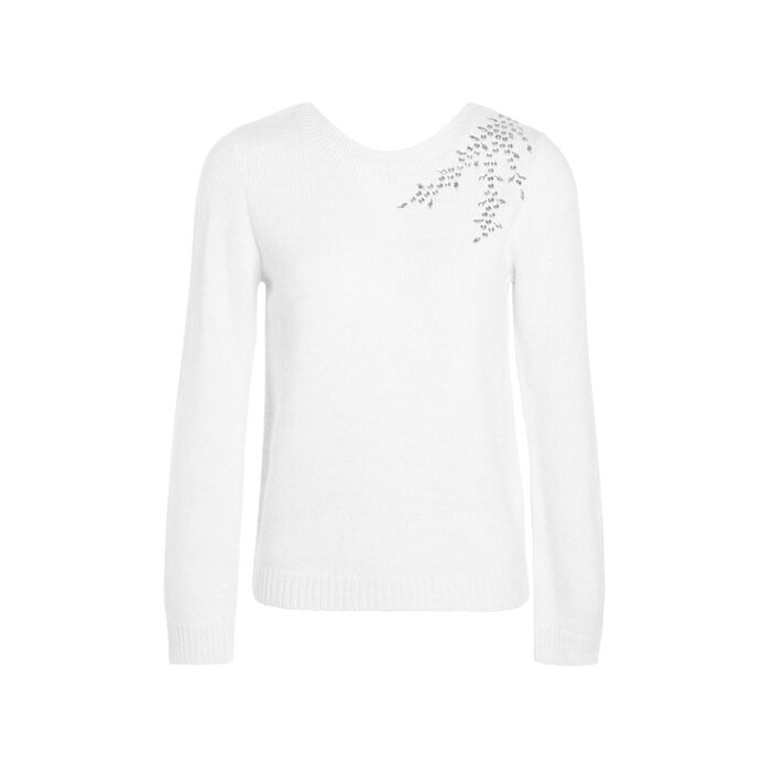 Pull manches longues strass ecru femme