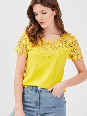 T shirt col rond avec macrame jaune femme