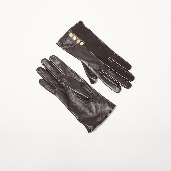 Gants en cuir noir femme