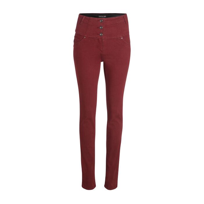 Pantalon magique gainant uni rouge foncé femme