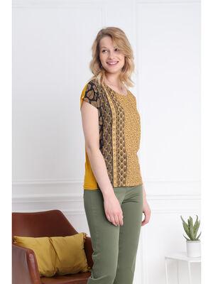 T shirt imprime devant jaune or femme