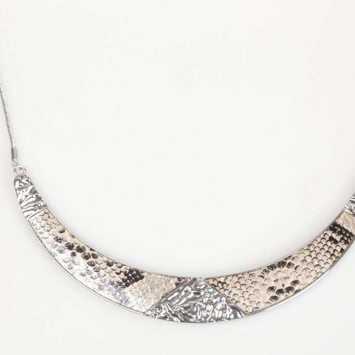 Collier ras-de-cou python sable femme