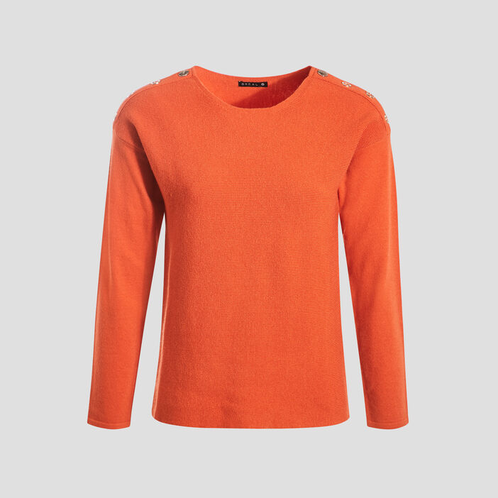 Pull manches longues orange femme