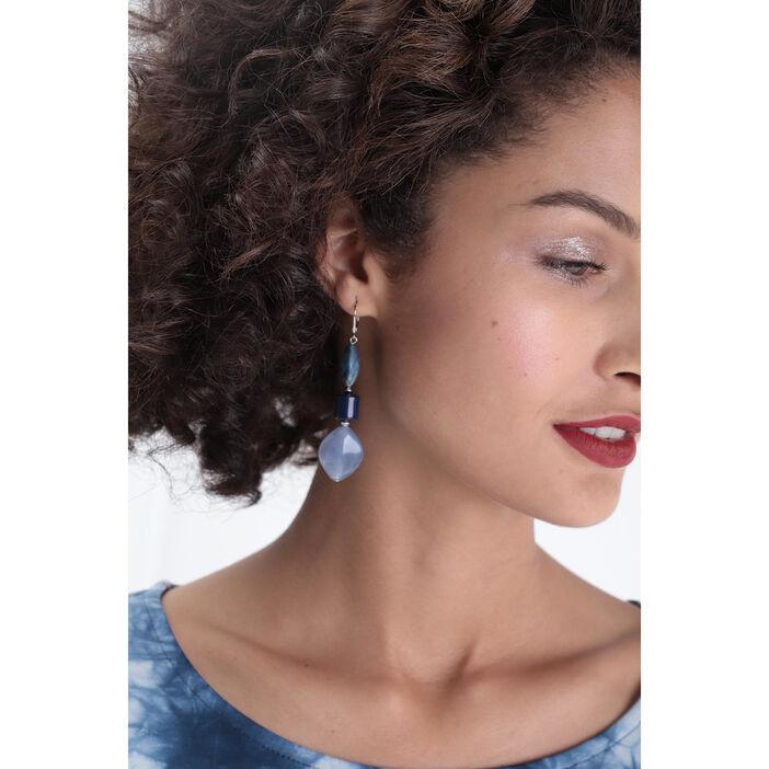 Boucles d'oreilles résine bleu clair femme