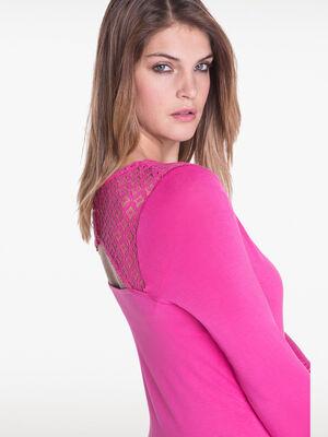 T shirt avec dentelle en haut du dos rose fushia femme