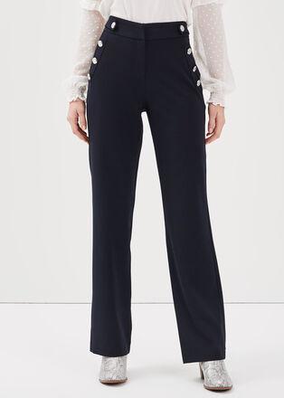 Pantalon droit large taille haute bleu fonce femme