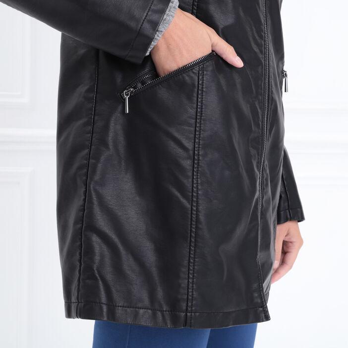 Manteau droit 2 poches zippées noir femme