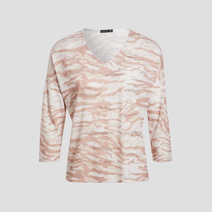 T-shirt manches 3/4 creme femme