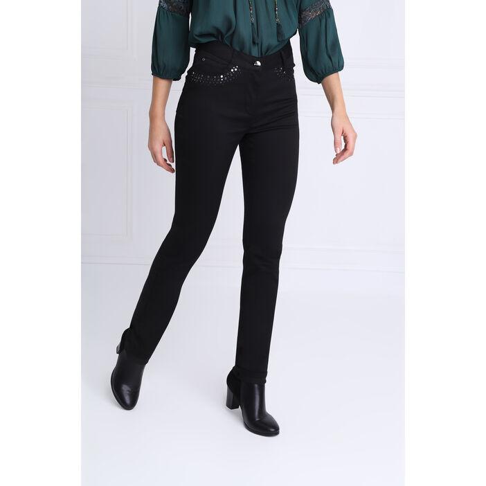 Pantalon ajusté sequins noir femme