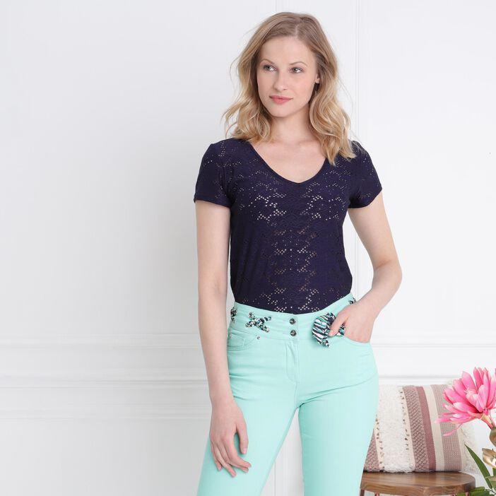 T-shirt manches courtes ajouré bleu femme