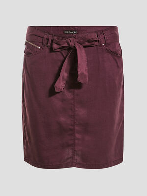 Jupe droite ceinturee violet fonce femme