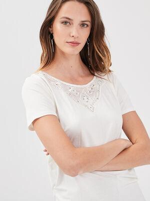 T shirt manches courtes creme femme