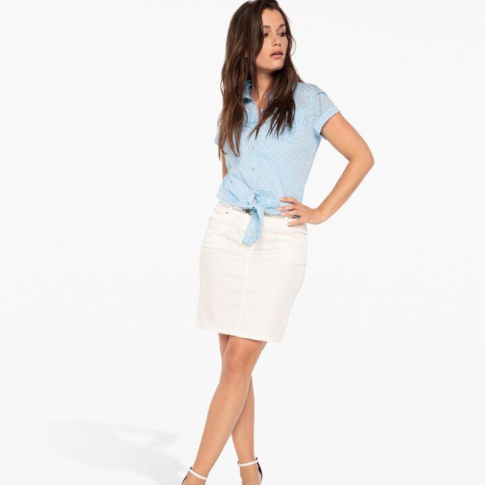 Jupe droite au genou ceinture métallisée ecru femme