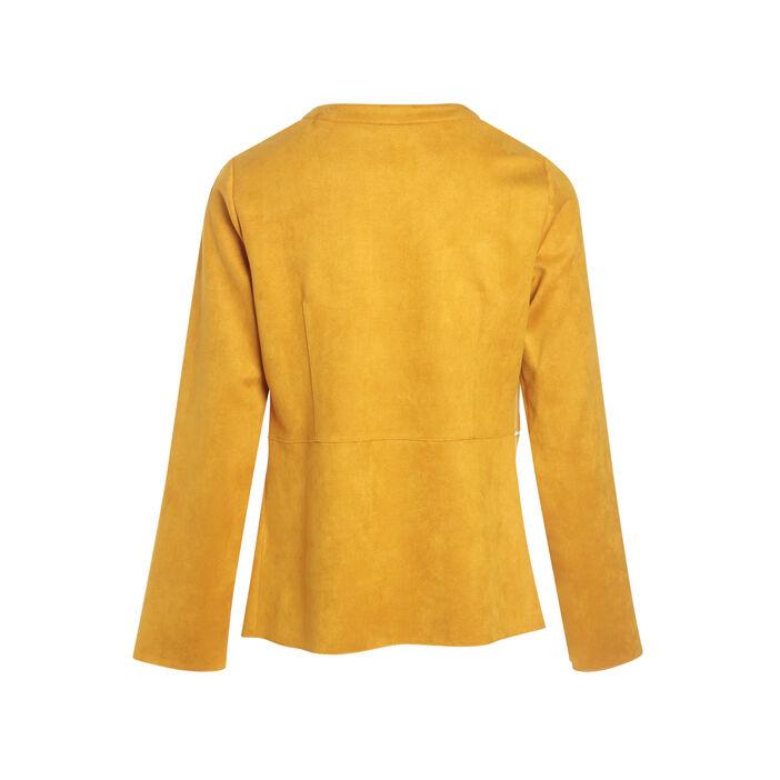 Veste cintrée droite jaune or femme