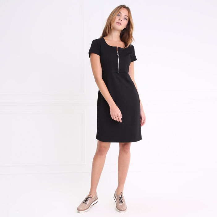 Robe courte manches courtes devant zippé noir femme