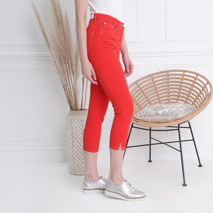 Pantalon surpiqures contrastées rouge femme