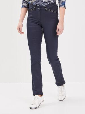 Pantalon droit taille basculee bleu fonce femme