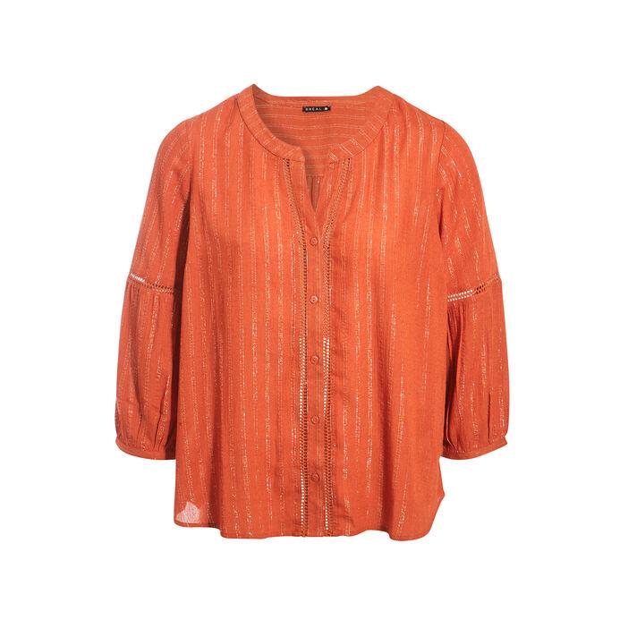 Chemise manches 3/4 orange foncé femme