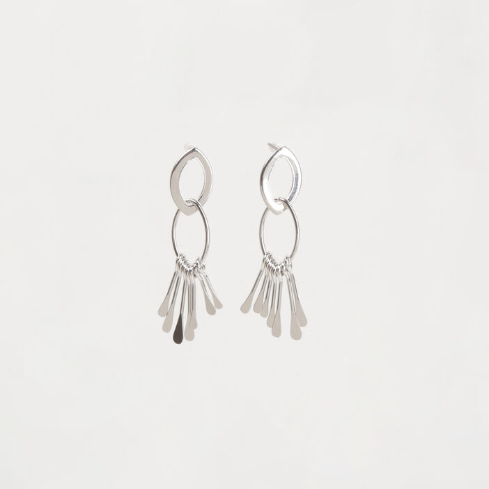 Boucles d'oreille métal couleur argent femme