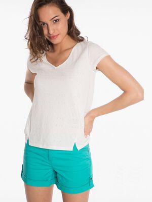 T shirt imprime ecru femm