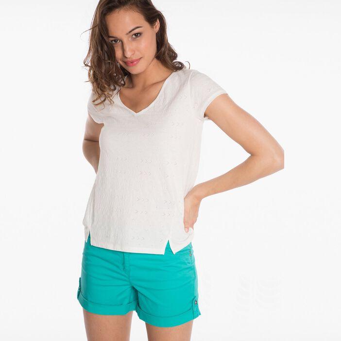 T-shirt  imprimé ecru femme