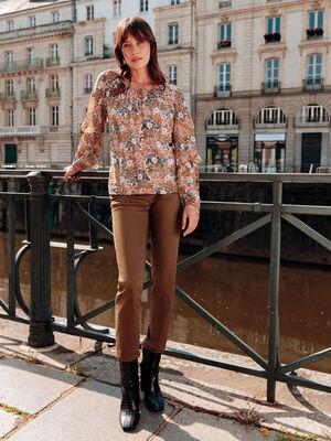 Pantalon slim taille basculee vert kaki femme