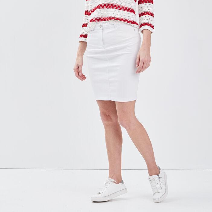 Jupe droite en jean blanc femme