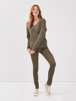 Pantalon pres du corps vert kaki femme