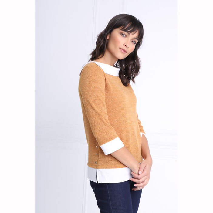 T-shirt manches 3/4 2-en-1 jaune moutarde femme