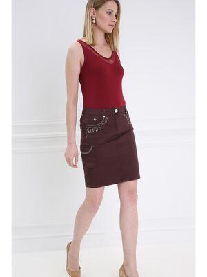 Jupe droite multi poches marron fonce femme
