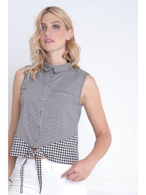 Chemise sans manche vichy noir femme