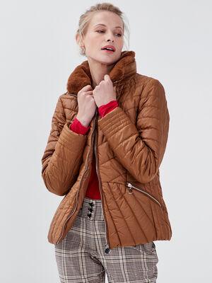 Doudoune courte cintree marron femme