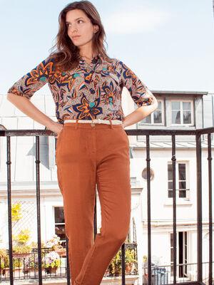 Pantalon chino taille basculee marron cognac femme
