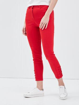 Pantalon ajuste taille haute rouge femme