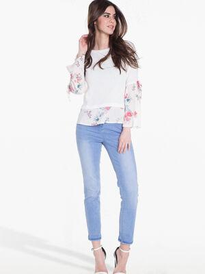 T shirt effet double crepe rose poudree femme