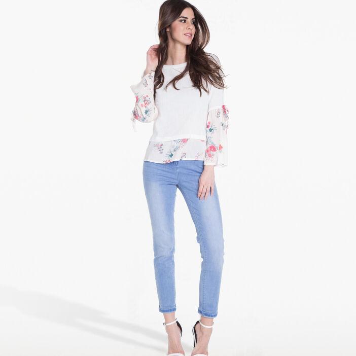 T-shirt effet double crepe rose poudrée femme