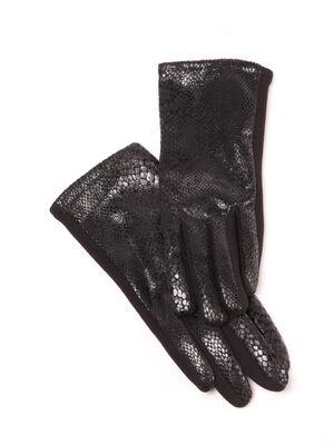 Gants textures noir femme