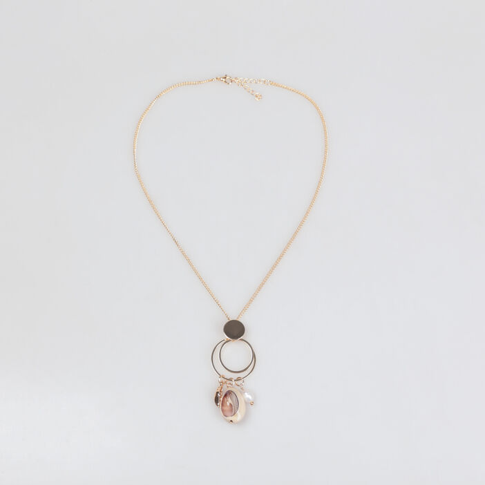 Collier pendentif coquillage couleur or femme