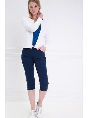 Pantacourt corsaire ajuste bleu fonce femme