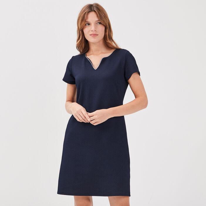 Robe pull droite avec noeud bleu marine femme
