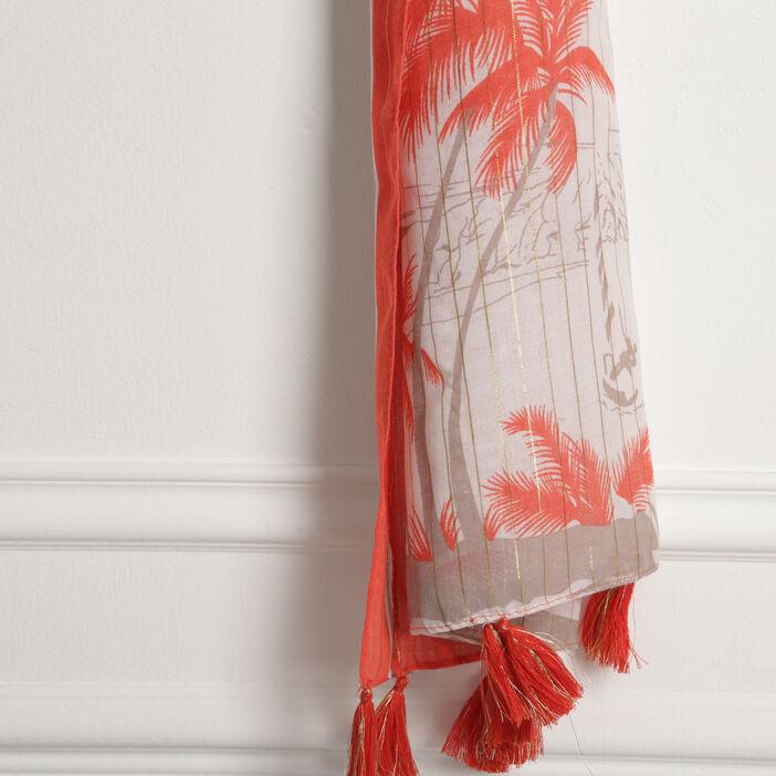 Foulard fin détails irisés orange corail femme