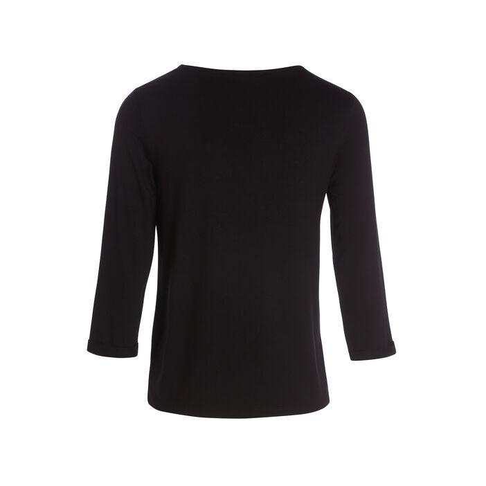 T-shirt manches courtes brodé noir femme