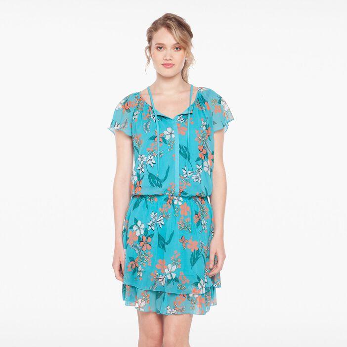 Robe imprimé floral détail laçage vert turquoise femme