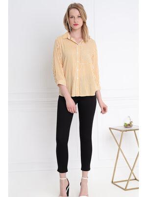 Chemise rayee bicolore jaune or femme